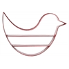 Metal Bird Shaped Wall Shelf with 3 Tiers and No Backing Coated Finish Red
