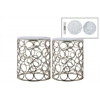 Metal Round Nesting Accent Table with Marble Top and Circle Design Body Set of Two Metallic Finish Champagne