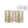 Metal Round Nesting Accent Table with Marble Top and Lattice Design Body Set of Two Metallic Finish Champagne