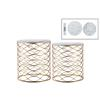 Metal Round Nesting Accent Table with Marble Top and Lattice Wave Design Body Set of Two Metallic Finish Gold