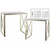 Metal Square Nesting Console Table with Marble Top and 2 Rectangle Legs Set of Two Metallic Finish Champagne