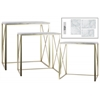Metal Rectangular Nesting Console Table with Marble Top and 2 Rectangle Legs Set of Three Metallic Finish Champagne