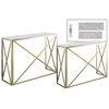 Metal Rectangular Nesting Console Table with Marble Top Set of Two Metallic Finish Champagne