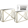 Metal Rectangular Nesting Console Table with Mirror Top Set of Two Metallic Finish Champagne