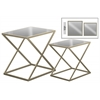 Metal Rectangular End Console Table with Mirror Top Set of Two Metallic Finish Champagne