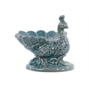 Ceramic Peacock Figurine/Candy Bowl with Base Distressed Gloss Finish Turquoise