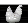 Ceramic Crouching Rooster Figurine Craquelure Distressed Gloss Finish White