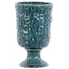 Ceramic Round Vase with Hammered Design on Pedestal LG Distressed Gloss Finish Turquoise