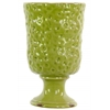 Ceramic Round Vase with Hammered Design on Pedestal LG Distressed Gloss Finish Yellow Green