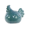 Ceramic Rooster Figurine Distressed Gloss Finish Turquoise