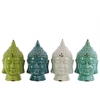 Ceramic Buddha Head  Assortment of Four Gloss Finish Assorted Color (Turquoise, Cyan, White and Yellow Green)