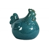 Ceramic Chicken Figurine Craquelure Distressed Gloss Finish Turquoise