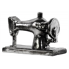 Ceramic Vintage Sewing Machine Sculpture Tarnished Chrome Finish Silver