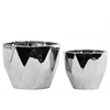 Ceramic Tapered Decagonal Pot Set Of Two Polished Chrome Finish Silver
