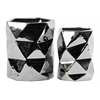 Ceramic Hexagonal Vase Set of Two Polished Chrome Finish Silver