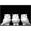 Porcelain Owl Figurine Assortment of Three Gloss Finish White