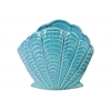 Ceramic Standing Open Clam Seashell Figurine Gloss Finish Turquoise