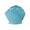 Ceramic Standing Open Clam Seashell Figurine Gloss Finish Turquoise