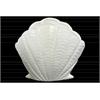 Ceramic Standing Open Clam Seashell Figurine Gloss Finish White