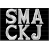 "Ceramic Alphabet Tabletop Decor Letters ""SMACKJ"" Assortment of Six Marbleized with Gray Streaks Gloss Finish White"