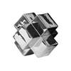 Ceramic Cross Cube Sculpture LG Polished Chrome Finish Silver