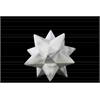 Ceramic 12 Point Stellated Icosahedron Sculpture SM Marbleized with Gray Streaks Gloss Finish White