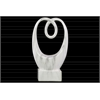 Ceramic Abstract Sculpture with Marbleized Gray Streaks Design on Base SM Gloss Finish White