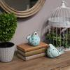 Porcelain Bird Figurine with Cutout Design Assortment of Two Distressed Gloss Finish Sky Blue
