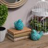 Porcelain Bird Figurine with Cutout Design Assortment of Two Distressed Gloss Finish Turquoise