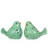 Porcelain Bird Figurine with Cutout Design Assortment of Two Distressed Gloss Finish Yellow Green