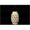 Ceramic Lantern with Cutout Design and Metal Handle Gloss Finish Cream