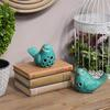 Porcelain Bird Figurine with Round Cutout Design Assortment of Two Gloss Finish Turquoise