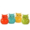 Ceramic Owl Figurine Assortment of Four Distressed Gloss Finish Assorted Color (Green, Yellow, Blue, Orange)