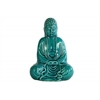 Ceramic Meditating Buddha Figurine without Ushnisha in Mida-No Jouin Mudra Gloss Finish Turquoise