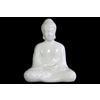 Ceramic Meditating Buddha Figurine with Rounded Ushnisha in Dhyana Mudra Gloss Finish White