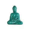 Ceramic Meditating Buddha Figurine with Rounded Ushnisha in Dhyana Mudra Gloss Finish Turquoise