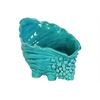 Ceramic Conch Sea Shell Sculpture Gloss Finish Turquoise