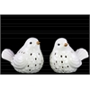 Ceramic Bird Figurine with Cutout Design Assortment of Two Gloss Finish White