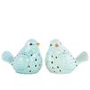 Ceramic Bird Figurine with Cutout Design Assortment of Two Gloss Finish Sky Blue