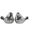 Ceramic Bird Figurine with Cutout Design Assortment of Two Polished Chrome Finish Silver