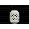 Ceramic Cylindrical Lantern with Metal Handle and Diagonal Cutout Design Gloss Finish White
