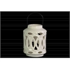 Ceramic Cylindrical Lantern with Metal Handle and Looping Cutout Design Gloss Finish White