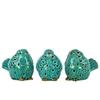 Ceramic Bird No Evil (Hear/Speak/See) Figurine Assortment of Three Gloss Finish Turquoise