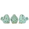 Ceramic Bird No Evil (Hear/Speak/See) Figurine Assortment of Three Gloss Finish Sky Blue