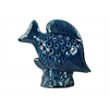 Ceramic Fish Figurine with Fish Scale Shaped Cutout Sides on Base Distressed Gloss Finish Navy Blue