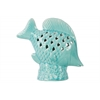 Ceramic Fish Figurine with Fish Scale Shaped Cutout Sides on Base Distressed Gloss Finish Light Blue