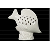 Ceramic Fish Figurine with Fish Scale Shaped Cutout Sides on Base Distressed Gloss Finish White