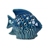 Ceramic Fish Figurine with Fish Scale Shaped Cutout Sides on Seaweed Base Distressed Gloss Finish Navy Blue