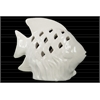Ceramic Fish Figurine with Fish Scale Shaped Cutout Sides on Seaweed Base Distressed Gloss Finish White