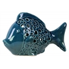 Ceramic Fish Figurine with Round Cutout Sides Gloss Finish Navy Blue